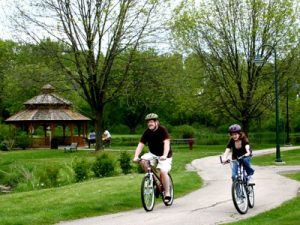 Biking in Lakeview Park, Middleton Wisconsin