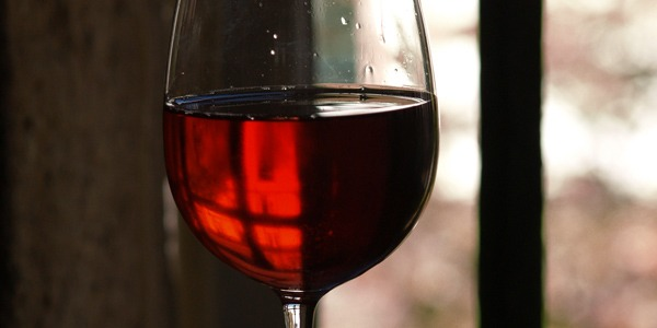 Wine glass with fall background
